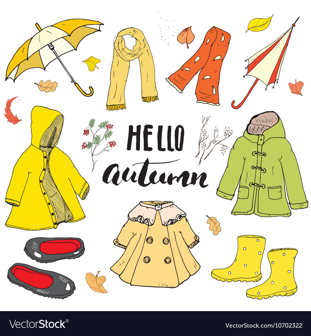 89e9f2019163 Autumn season clothes set Hand drawn doodles and Vector Image