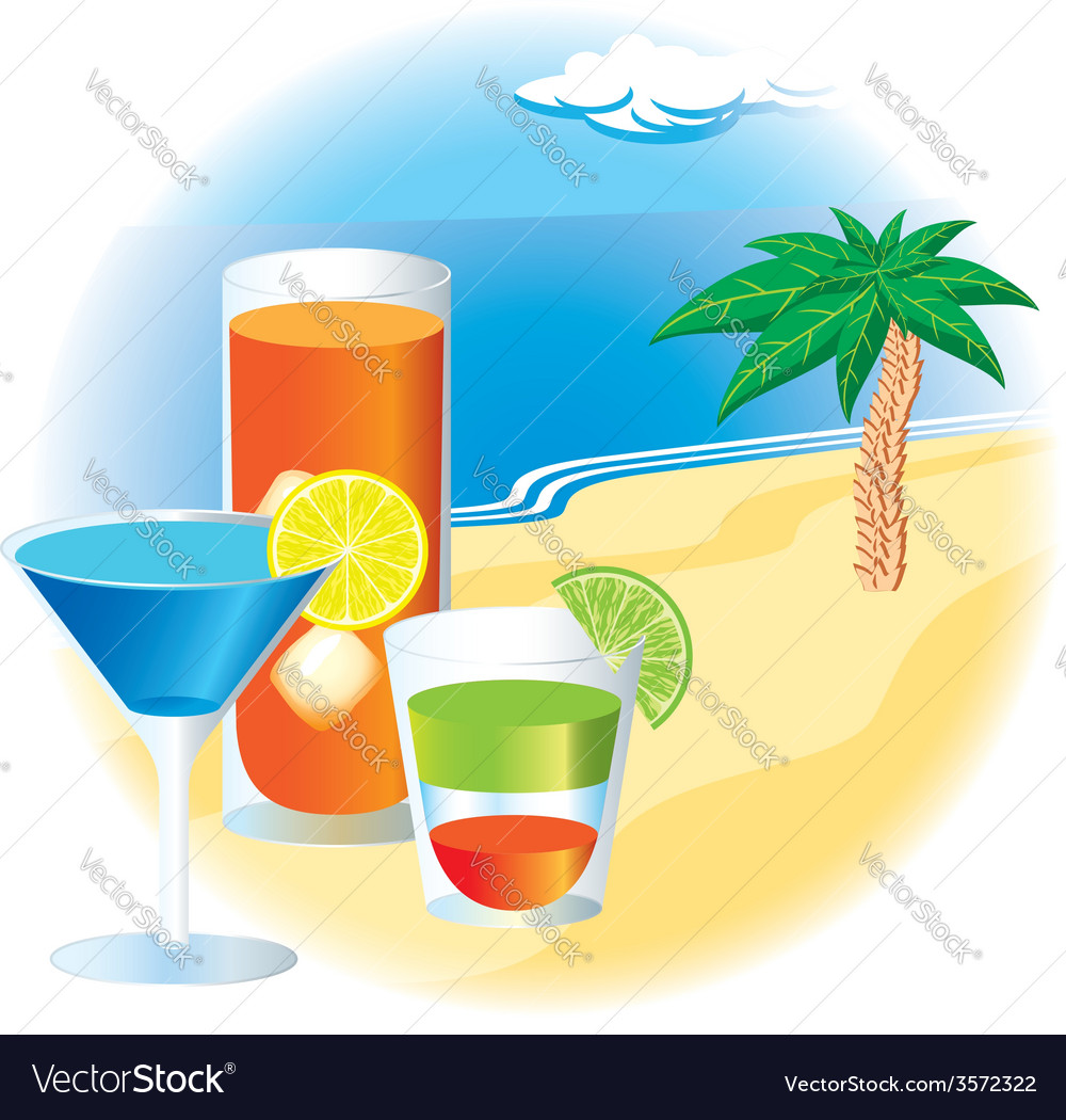 Beach with cocktails and palm tree