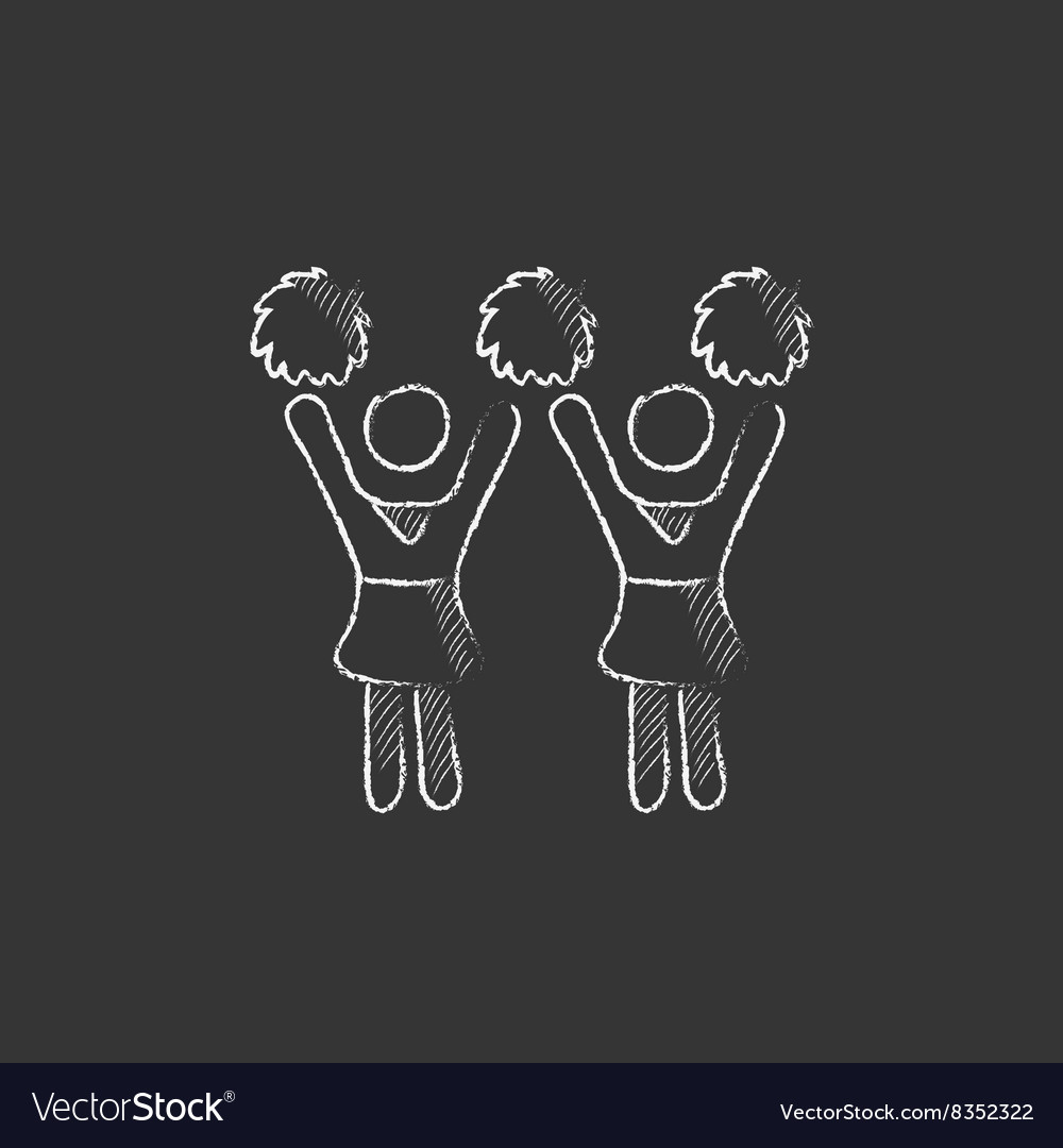 Cheerleaders Drawn in chalk icon