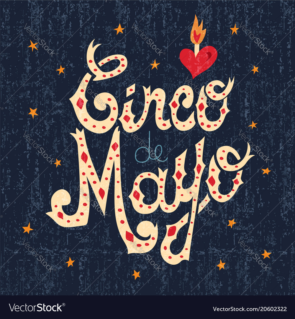Cinco de mayo mexican text sign greeting card vector image m4hsunfo