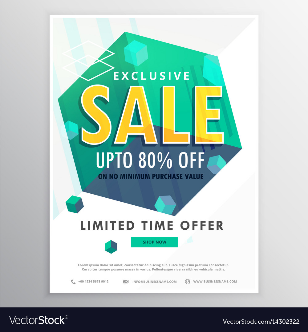 creative sale poster banner flyer design with 3d vector image