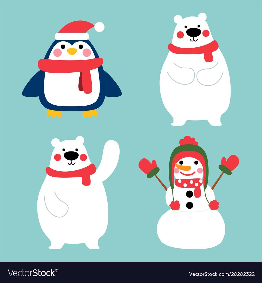 Happy winter character in winter costume