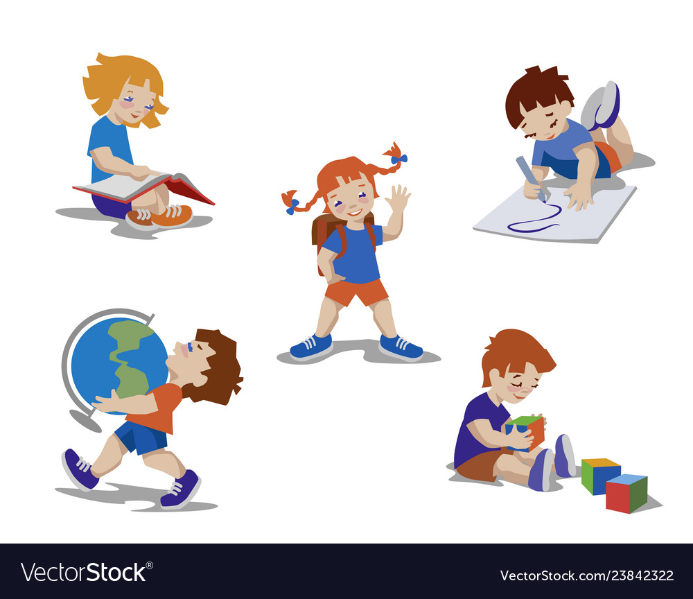 Kids drawing learning reading