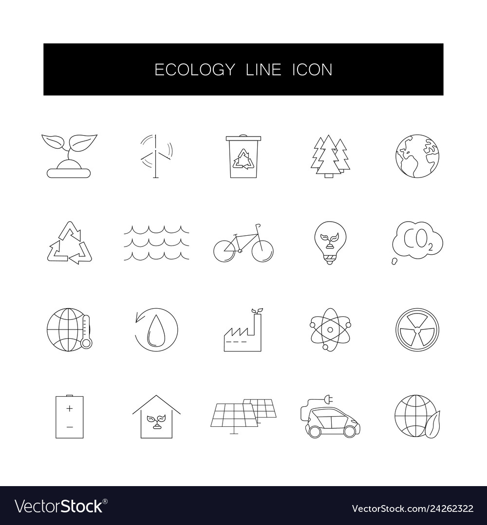 Line icons set ecology pack
