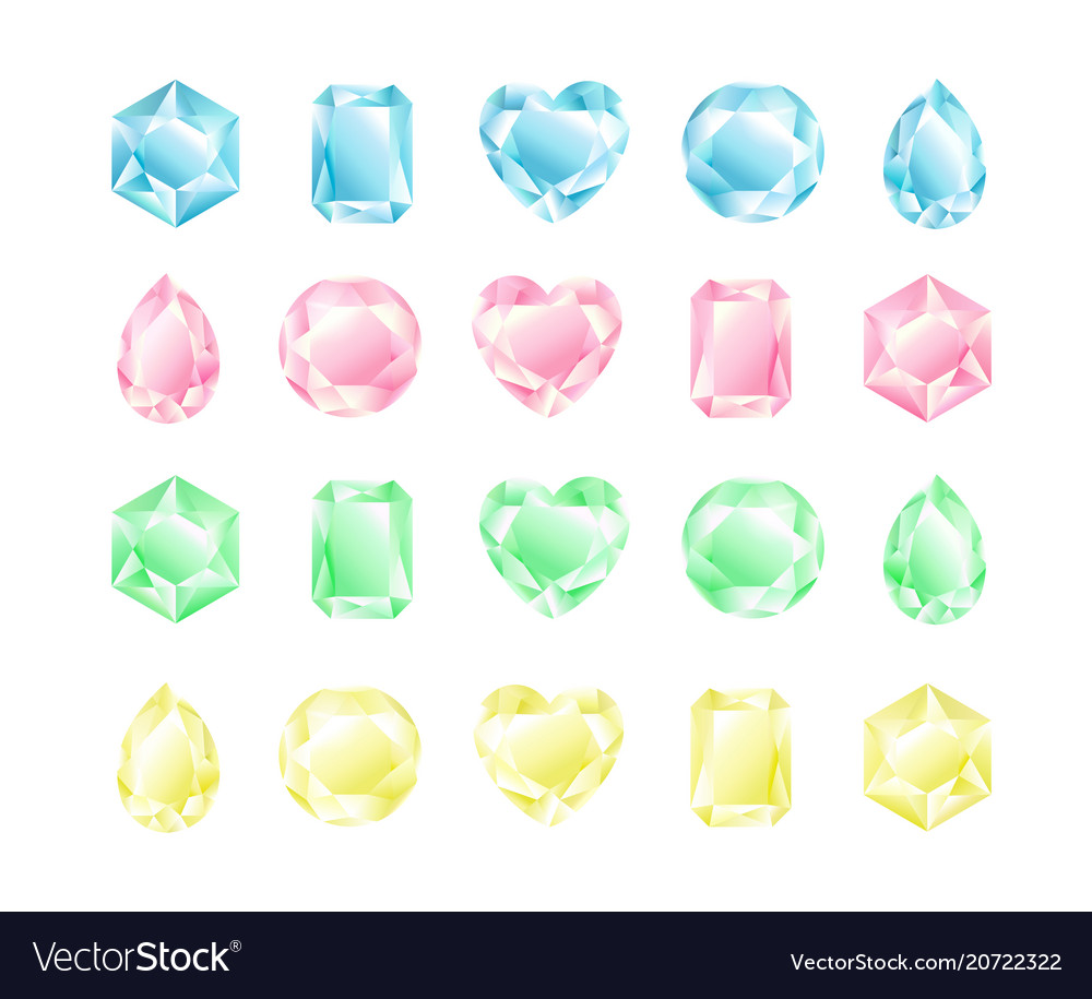 Set of crystals different vector image