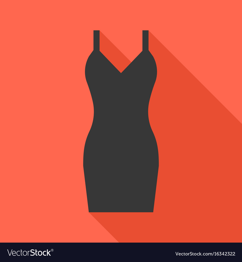 Sexy black dress icon with long shadow