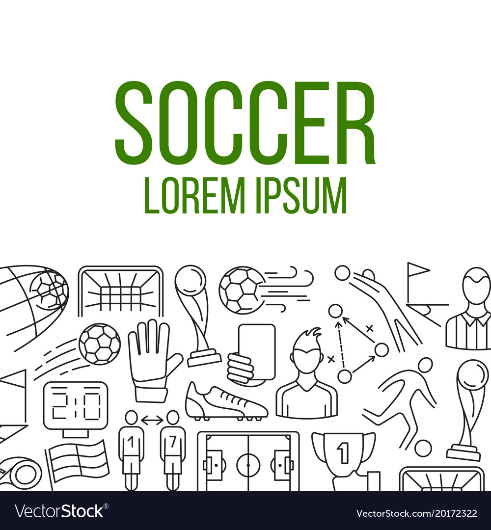 Soccer icons in frame Royalty Free Vector Image