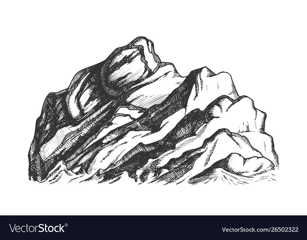 Summit of mountain landscape hand drawn