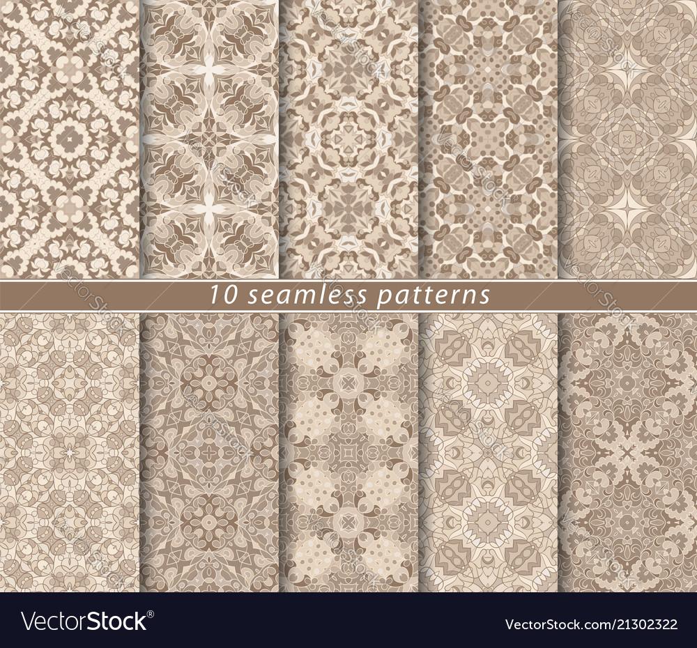 Ten seamless patterns in oriental style