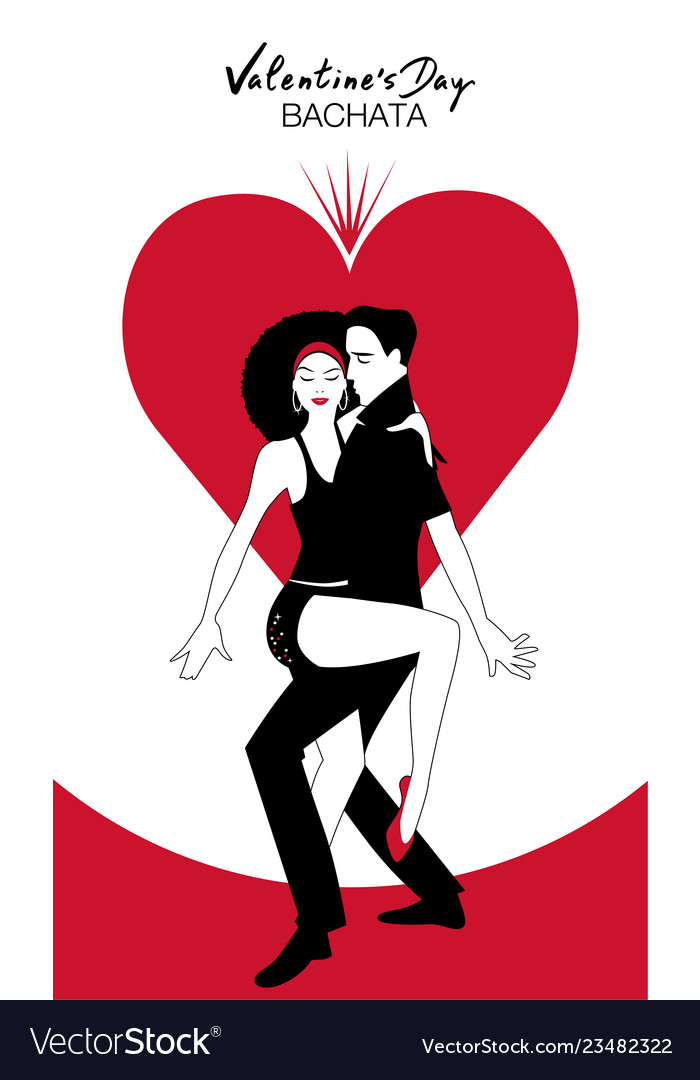 Valentines day couple dancing bachata on heart in