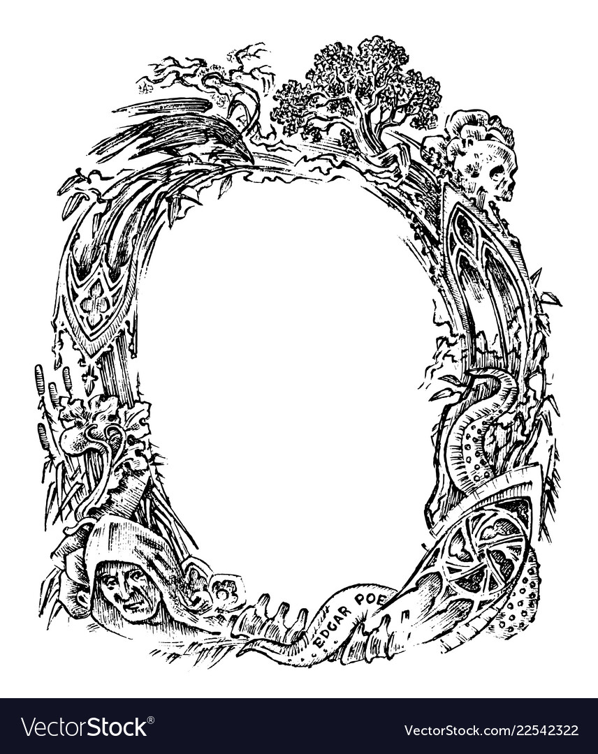 Vintage frame with flowers and mythical creatures