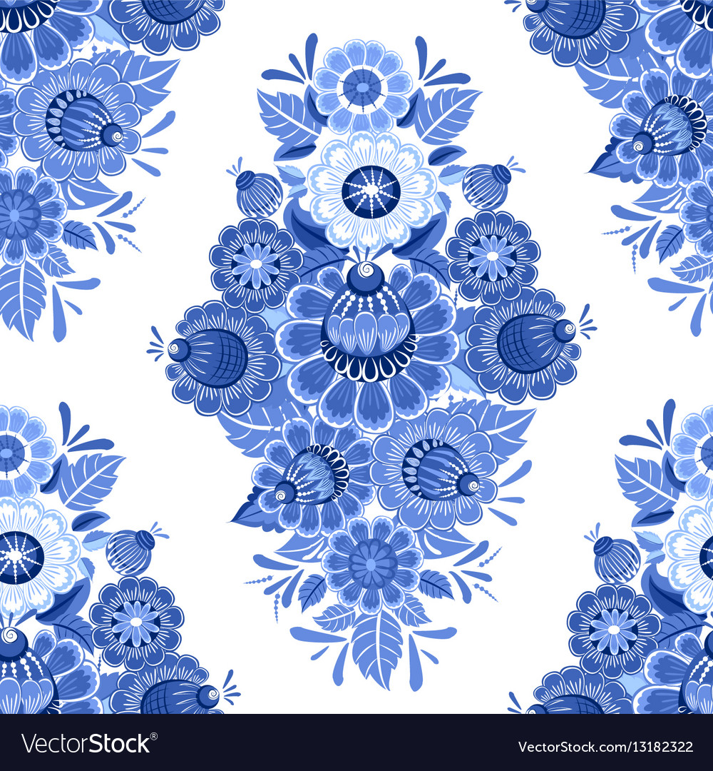 Vintage monochrome seamless texture with blue vector image