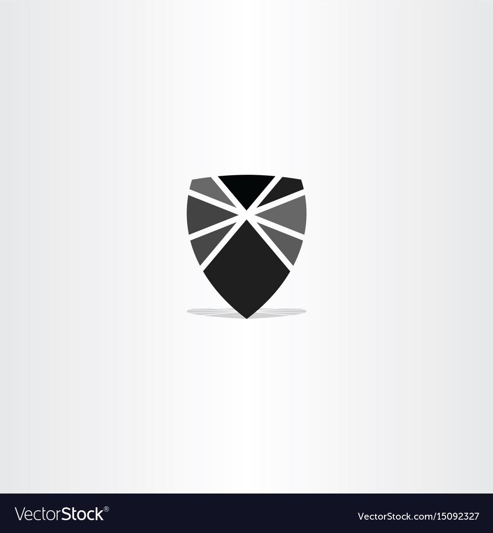 Black shield element icon symbol vector image
