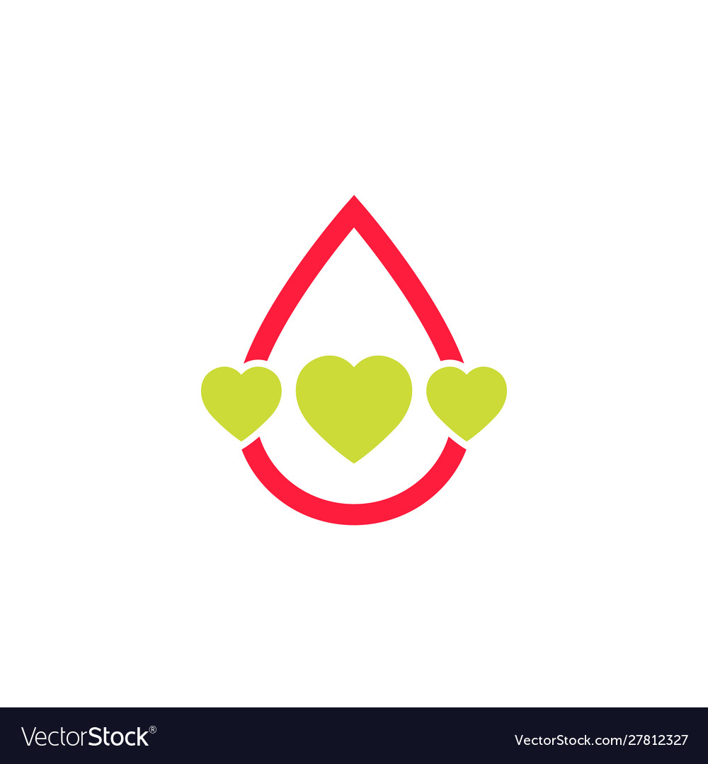 Blood donation logo with hearts