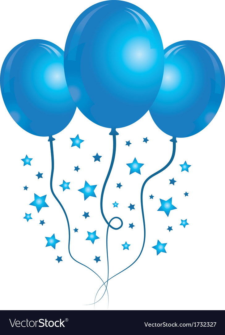 blue balloons with stars royalty free vector image