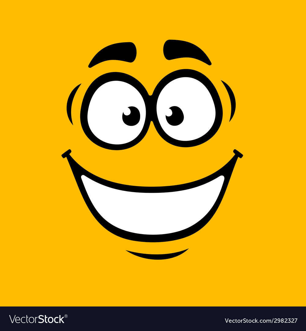 Cartoom Smile on Orange Background vector image