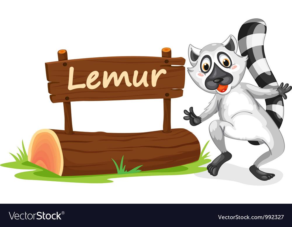 Cartoon zoo lemur sign