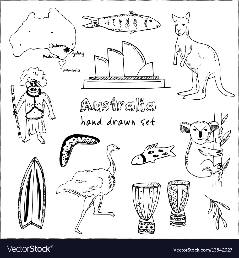 Collection australia doodle vector