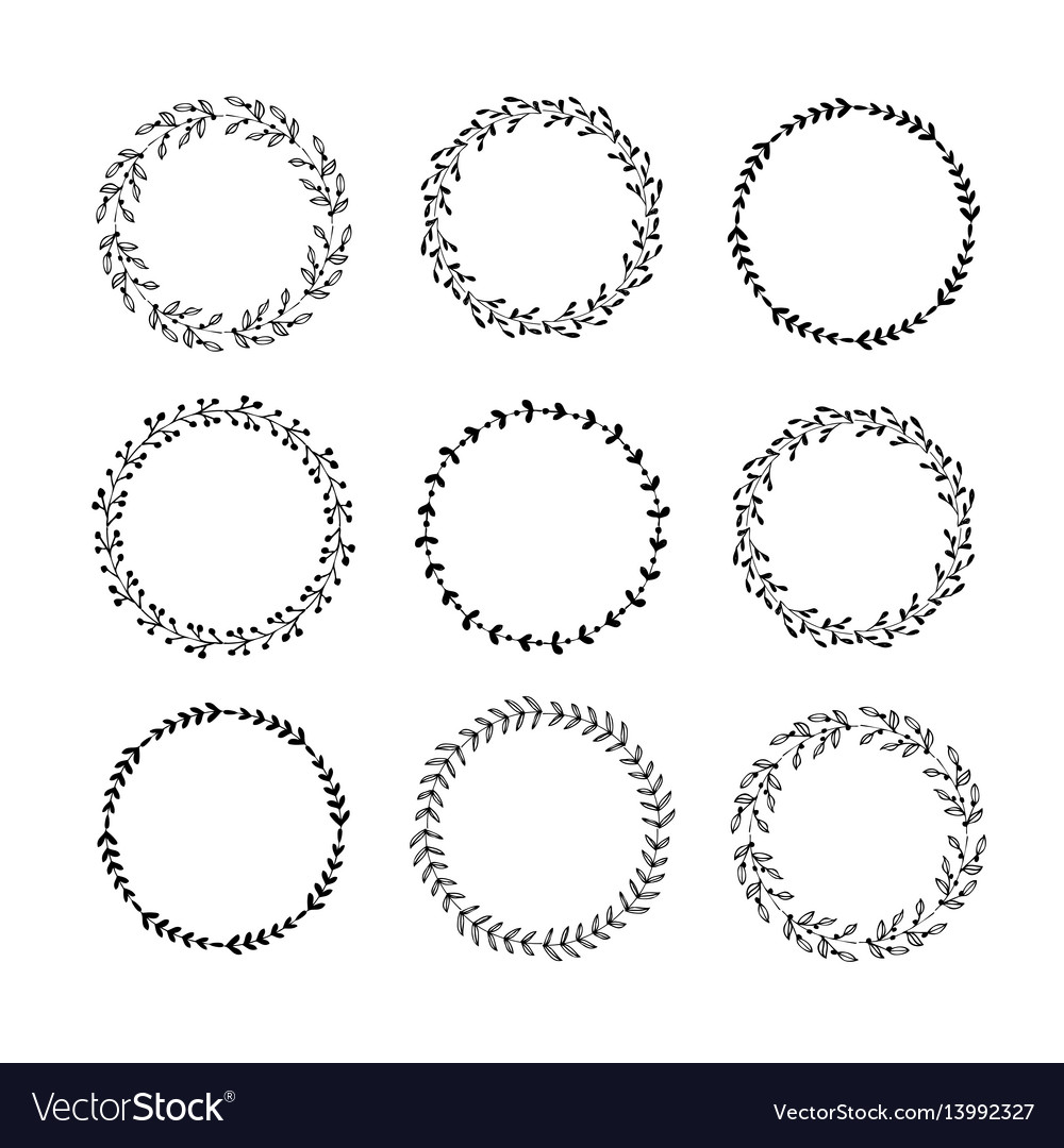 Hand drawn set floral wreaths vector