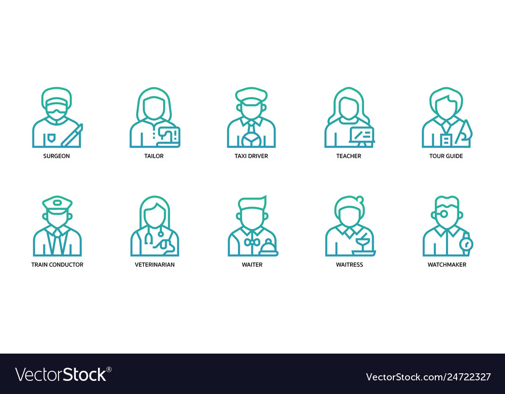 Jobs and occupations icons set vector image