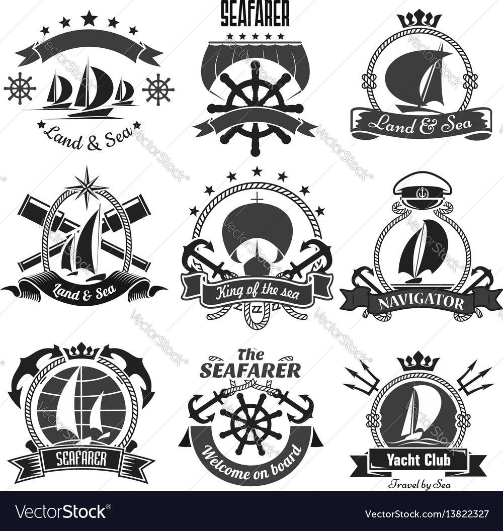 Nautical heraldic symbols marine icons set