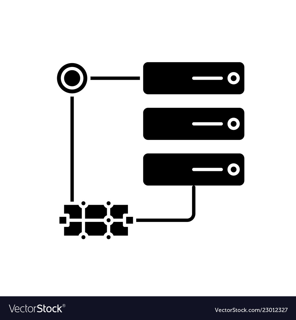 Network technology black icon sign on