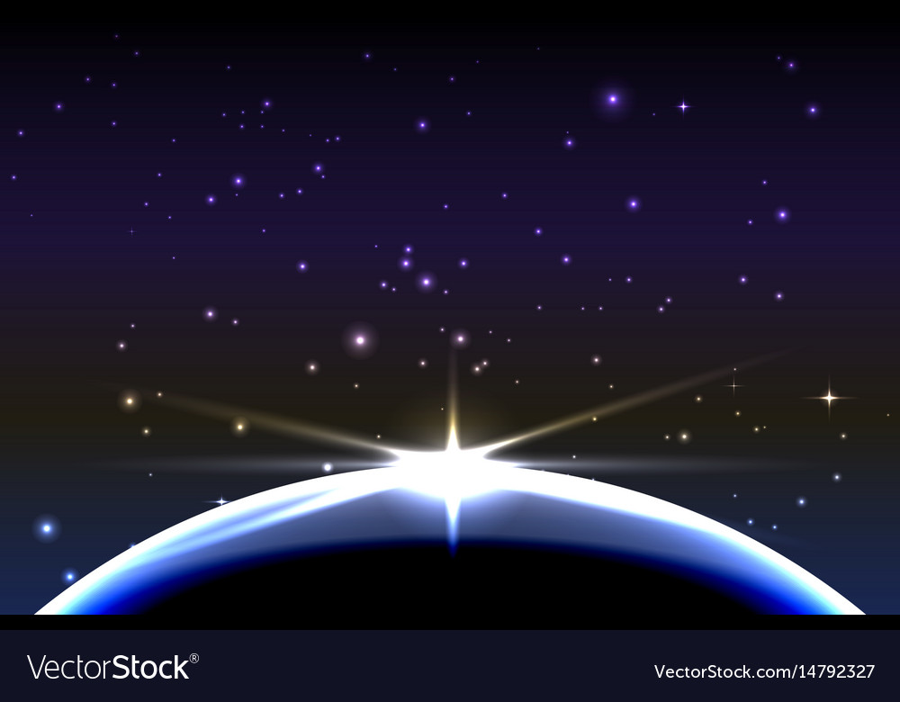 Planet earth with sunrise in space space