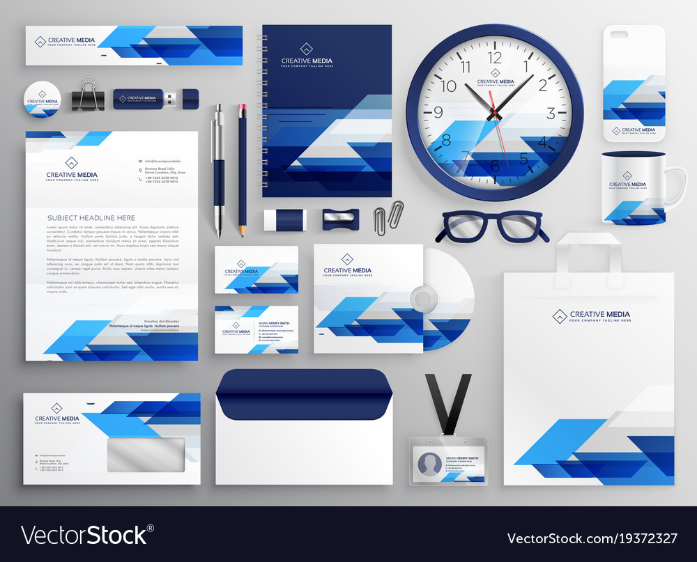 professional modern business stationery set vector image