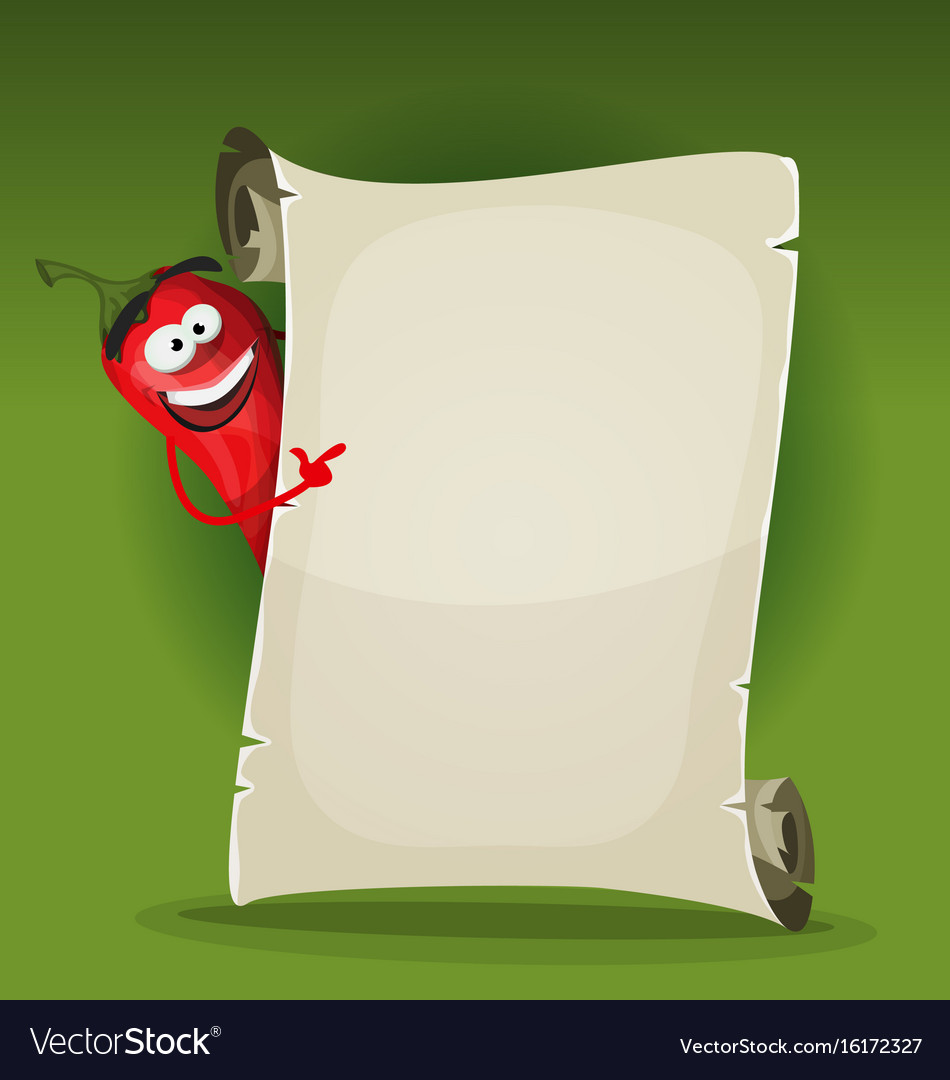 Red hot chili pepper holding restaurant menu