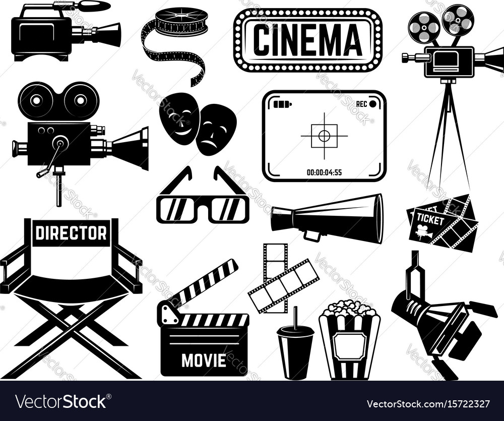 Set of cinema icons and design elements isolated