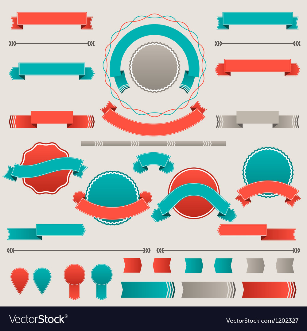 Set retro badges labels ribbons and design vector