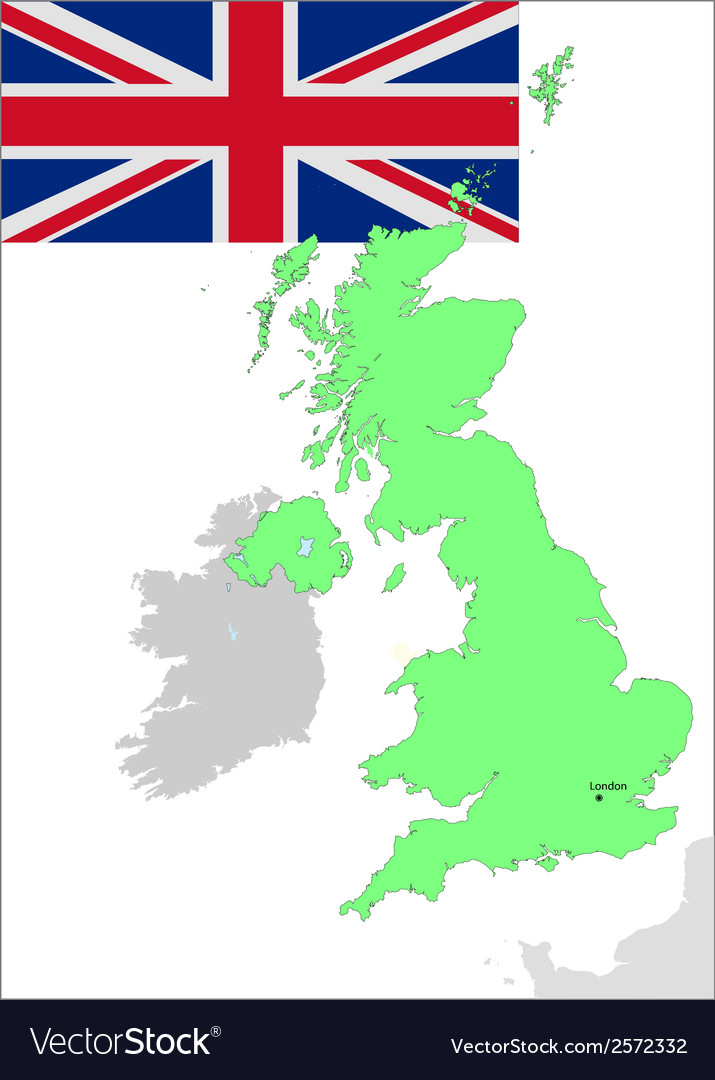 6131 UK map and flag vector image