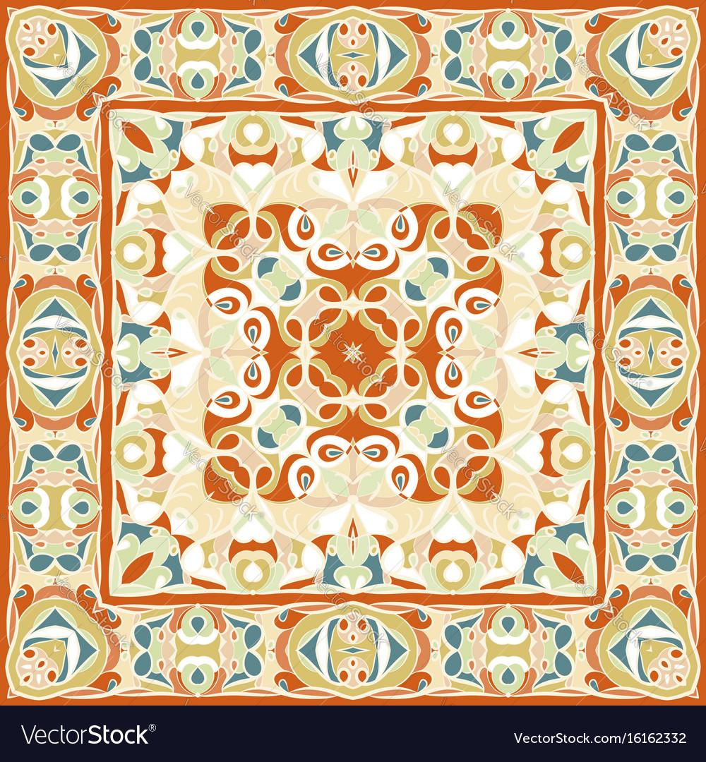 A bright orange handkerchief in oriental style vector image
