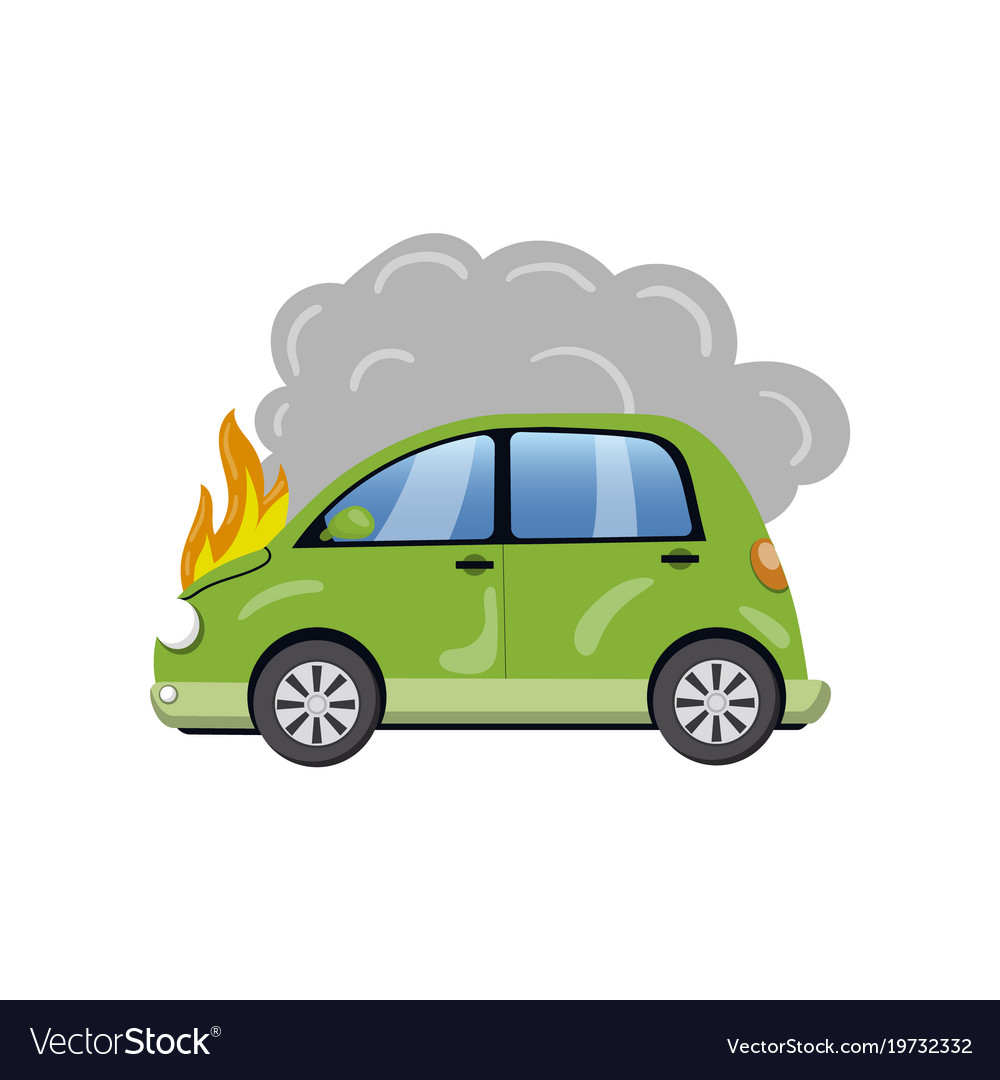 Burning car auto fire breakdown cartoon