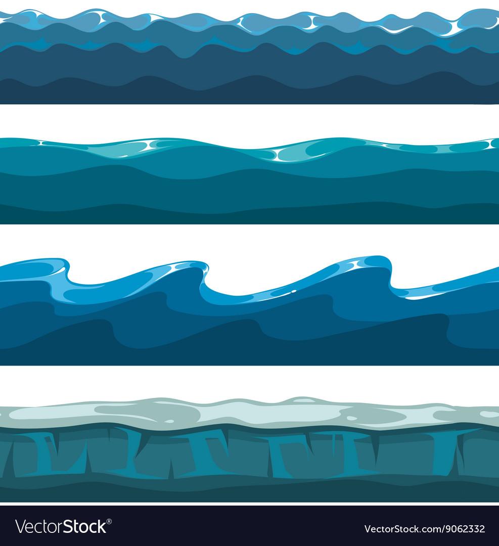 Cartoon Ocean Sea Water Waves Seamless