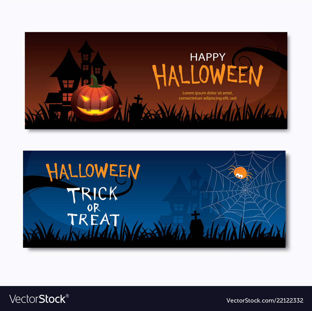 Happy halloween party invitations banner