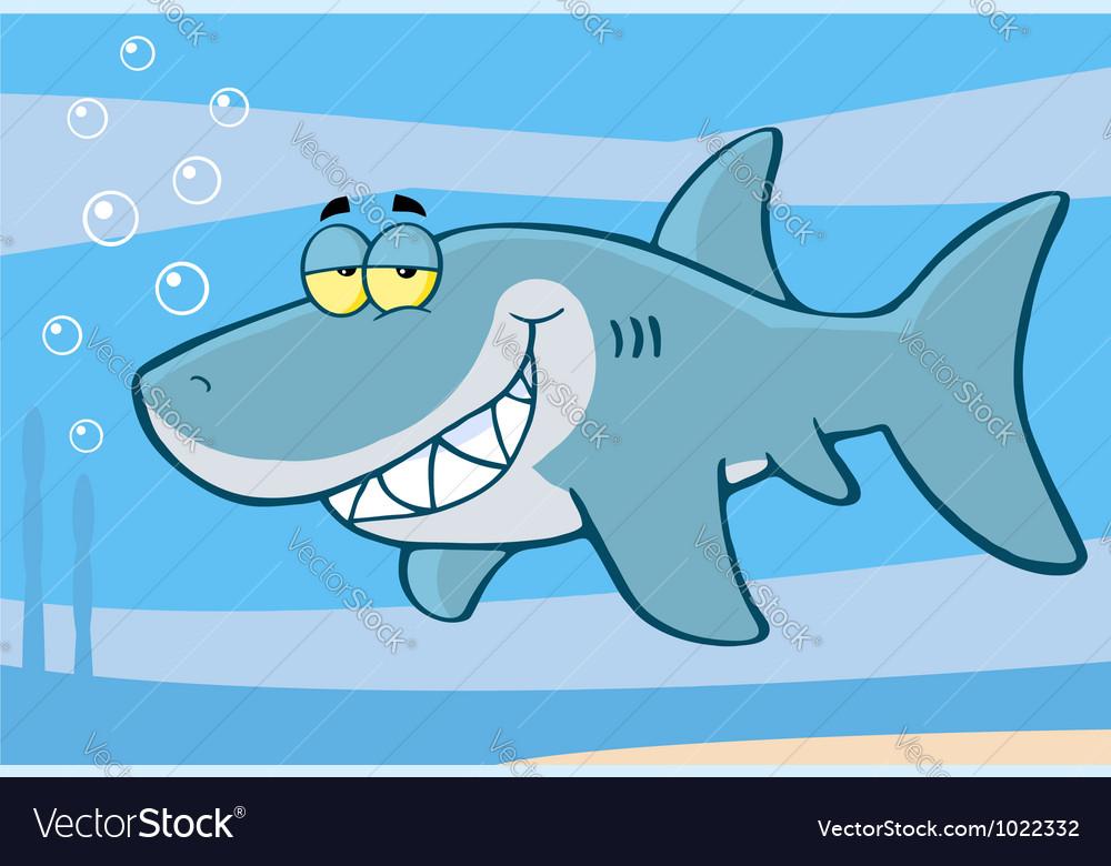Happy Shark Cartoon Character vector image