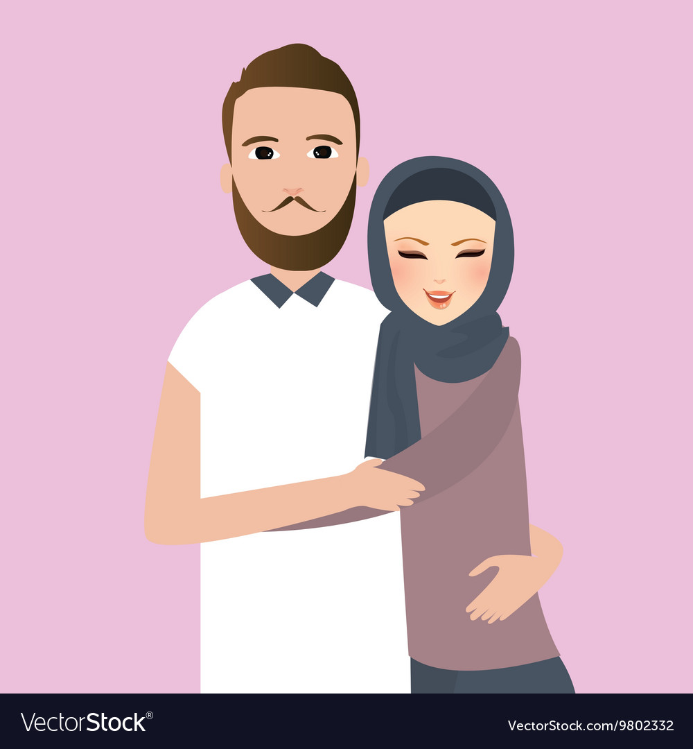 Islam couple married man woman wear veil scarf