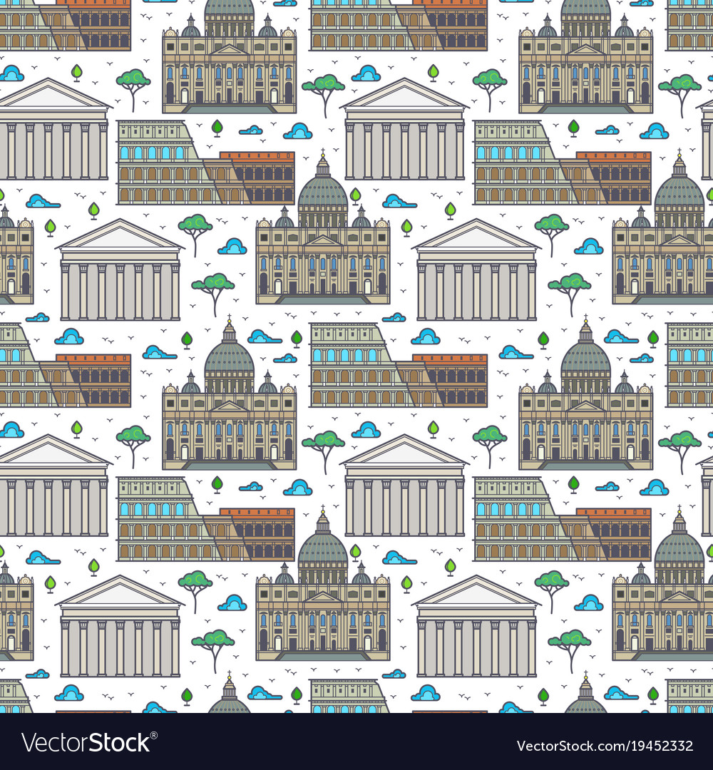 Linear rome famous buildings seamless pattern vector image