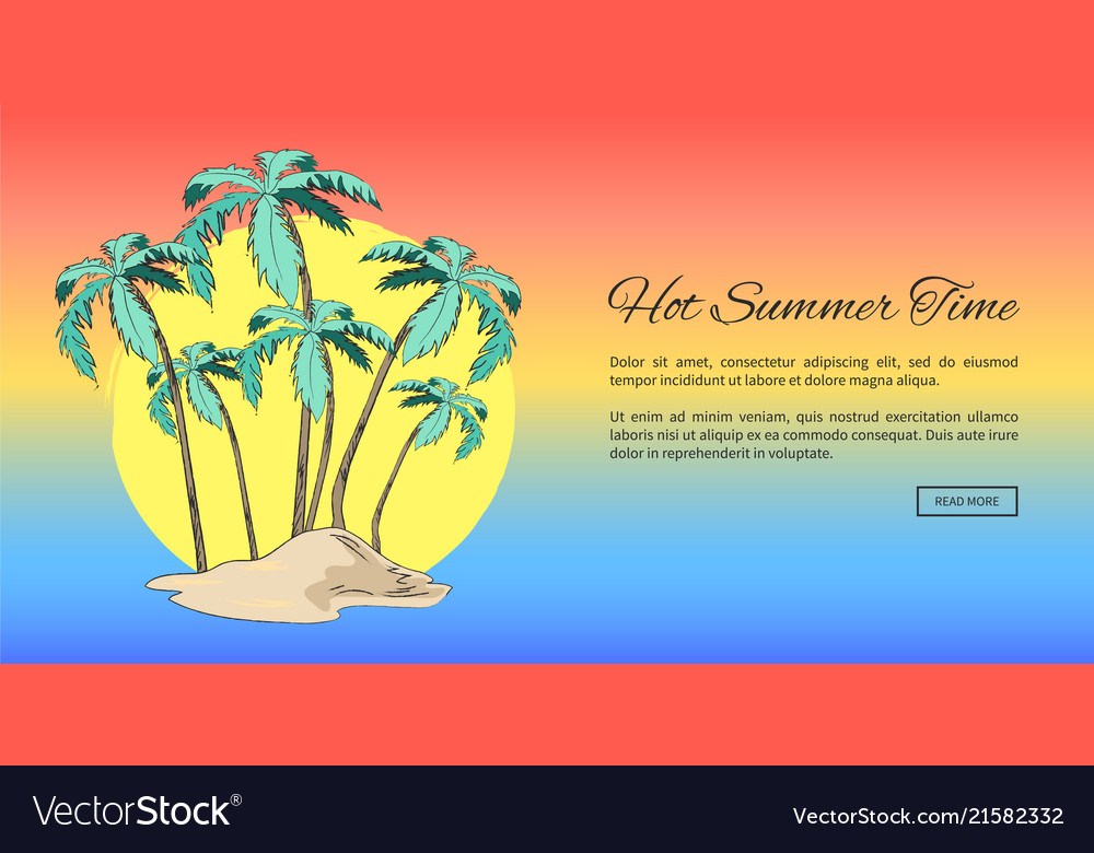 Lovely summer poster with tall palms and text