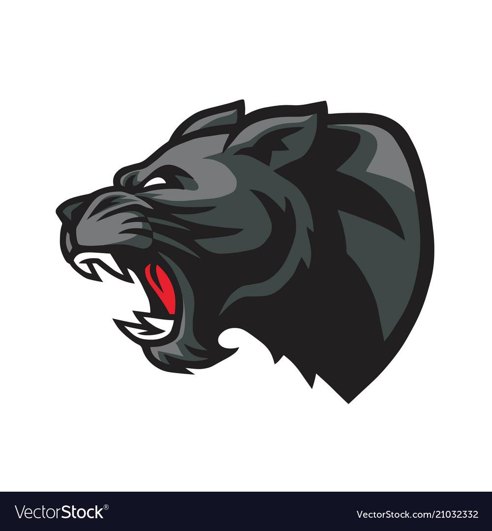 Panther roaring head mascot logo