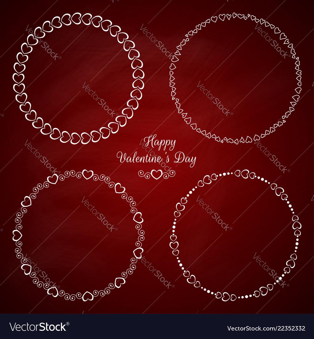Set 4 circle cute frames for st valentine