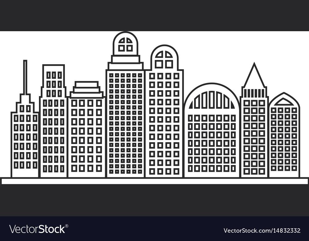 Sketch contour city landscape with buildings
