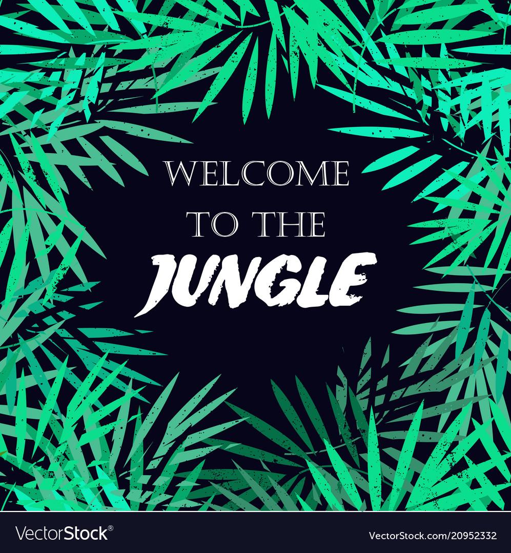 Tropical leaves frame jungle border