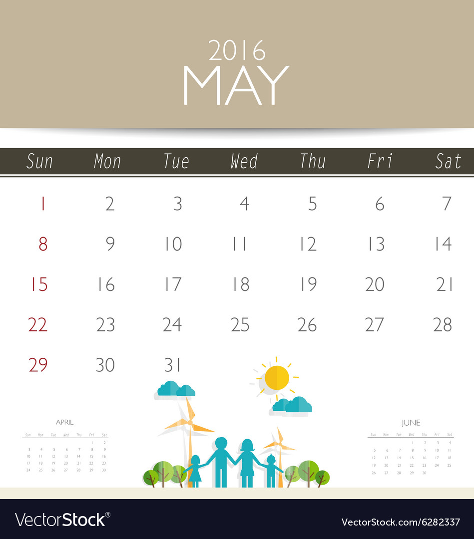 2016 calendar monthly calendar template for may vector image