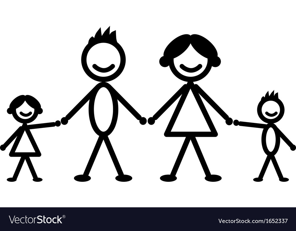 Happy stick family vector image