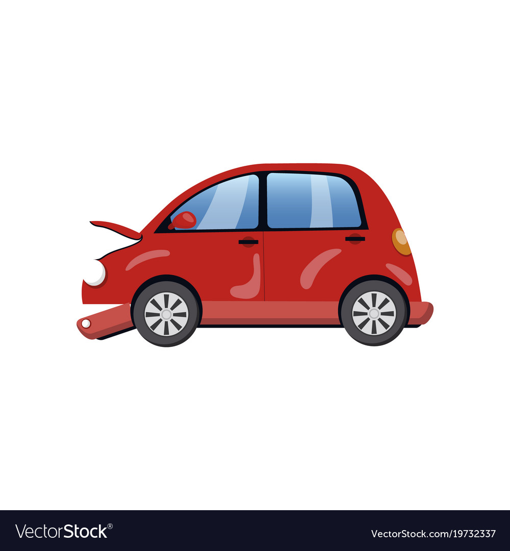 Red car damaged in a road accident cartoon