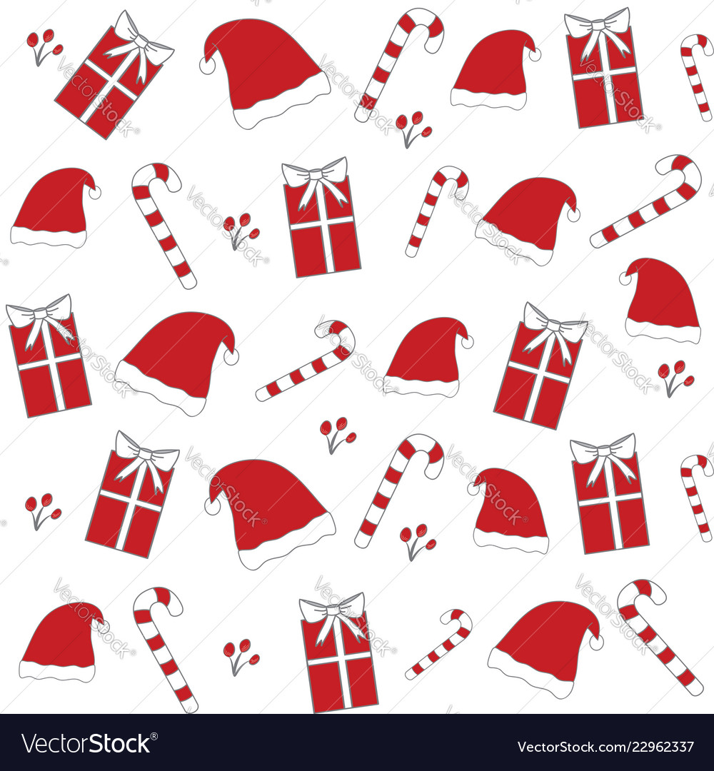8061d54b0 Red christmas hat sticks floral seamless pattern vector image on VectorStock