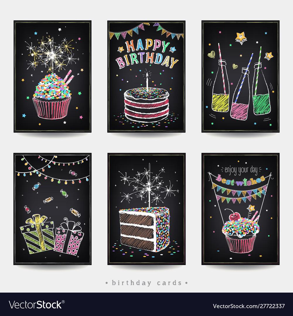 Set birthday invitation cards