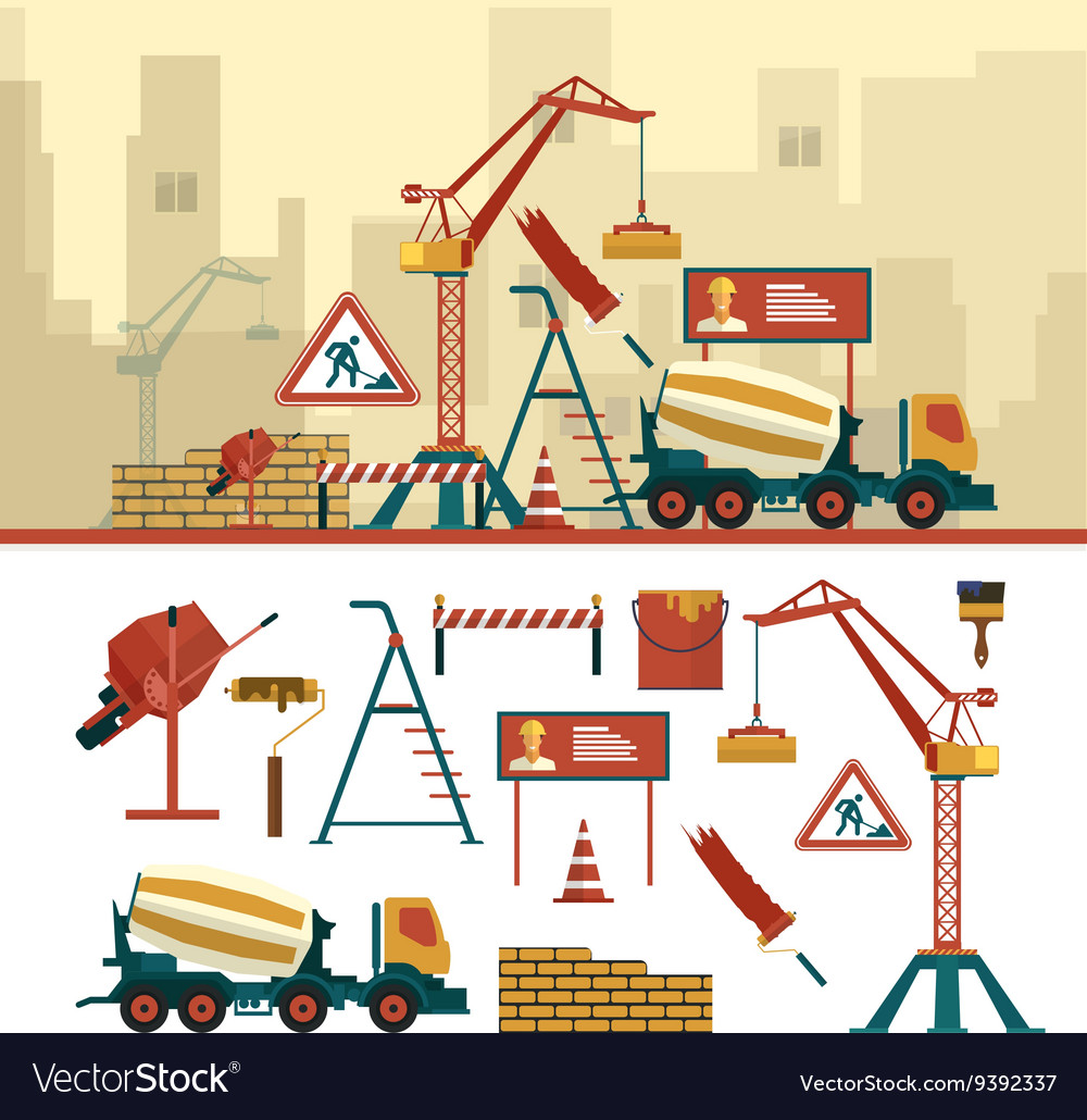 Set of construction site objects and tools
